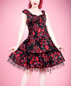 Look what I found on #zulily! Black Red Rose Peplum Dress - Women & Plus by HEARTS & ROSES LONDON #zulilyfinds