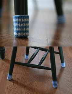 Chair Socks...What a Great idea, not crochet and not a free pattern, But who needs a pattern for these?? Just a little scrap yarn
