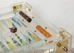 Lucite and Brass backgammon table - early 80's #love and have it!