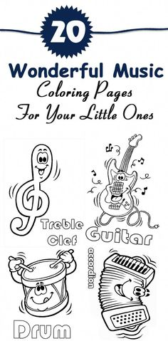 Want to introduce your kid to the wonderful world of music & spark an interest to promote instrument recognition? Get 20 free printable music coloring pages Kindergarten Music, Preschool Music, Teaching Music, Kindergarten Activities, Learning Piano, Music Games, Music Activities, Color Activities, Movement Activities
