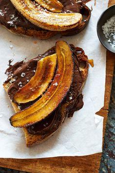 bruléed bananas, melted chocolate toasts + sea salt