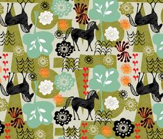 magical horse garden fabric by ottomanbrim on Spoonflower
