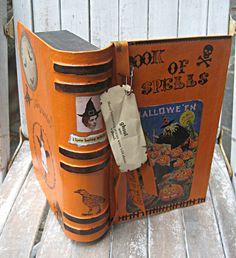 Vintage style Halloween box, orange pumpkins, witches, ooak decor. $18.00, via Etsy.