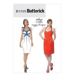 Butterick B5599 Suzi Chin Crossover detail Dress Size: AA (6-12)  Availability: OOP Condition: Uncut, Factory Folded Swapper: Konnie Kapow Will swap for: patterns, fabric,trims/ notions, buttons, books and more...