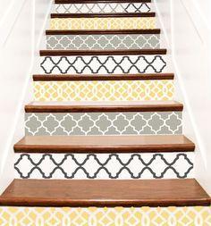 Decorative Vinyl Stair Tile Decals . Trellis Decor by crowbabys