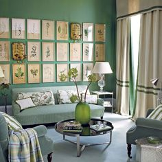Botanical prints in grid pattern creates focal point in serene living room