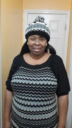 Grey black white hat to match dress