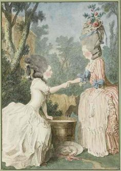 Madame de Longueuil et madame de la Houze, Musée Condé 18th Century Dress, 18th Century Clothing, 18th Century Fashion, Marie Antoinette, Charles Perrault, Rococo Fashion, Historical Costume, Fashion Plates, Portrait Art