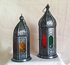 Moroccan Style Lantern - Grey Metal Dome Rustic Tea Light Holders