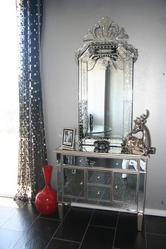 Hollywood Glam Mirror & Nightstand by Diva Rocker Glam (424) 245 4503, via Flickr