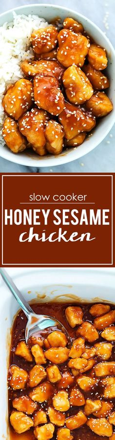 Save time with this slow cooker honey sesame chicken with white rice for a quick + easy weeknight dinner recipe. Crock Pot Slow Cooker, Crock Pot Cooking, Slow Cooker Chicken, Slow Cooker Recipes, Crockpot Recipes, Chicken Recipes, Cooking Recipes, Dinner Crockpot, Crock Pots