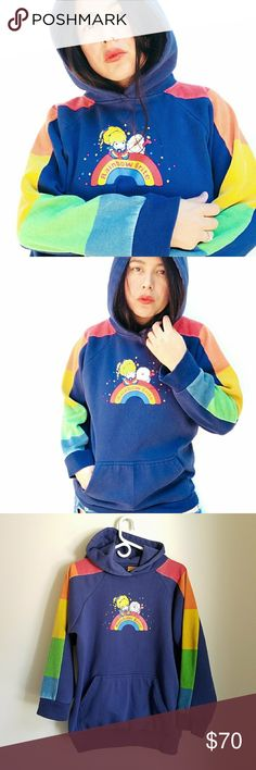 """Rare 80's Rainbow Brite chunky pullover hoodie Rare vintage 80's made in Korea Rainbow Brite colorful chunky pullover sweater. Size L. Will look cutely oversized on smaller sizes [check measurements provided]. Rainbows on chest, colorful color blocked paneled sleeves, kangoroo pocket in front and comfy easy fit ❤ Measurements flat: Length: 26"""" Armpit to armpit: 22"""" Sleeves: 21"""" This baby is old and it was obviously enjoyed by original owner (who wouldn't? ): It is a tad faded and has light…"""