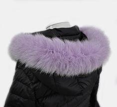 READY TO SHIP, Lilac 60 cm Real Fox Fur (Tail) Trim Hood, Fur collar trim, Fox Fur Collar, Fur Scarf, Fur Ruff, Fur Hood, Fur stripe, Trim
