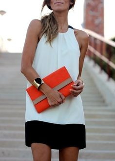 We love this outfit! Black, white, and, a pop of color for Spring!