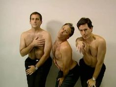 Steve Carell, Jon Stewart, and Stephen Colbert: How men would look if they had to pose in ads the way women are expected to. I love these guys. :D