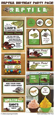 PDF format-Instant Download-Reptile Party by AllAboutPartyPrints