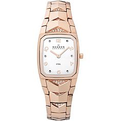 @Overstock - Skagen Women's Rose-goldtone Watch - This lovely women's watch from Skagen features a rose-goldtone stainless steel case with a matching Swarovski crystal accented bracelet. The matte silvery white dial sets the stage for rose-goldtone hands and Arabic numerals.    http://www.overstock.com/Jewelry-Watches/Skagen-Womens-Rose-goldtone-Watch/6724668/product.html?CID=214117  $134.99