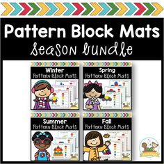 A Bundle Of 4 Different Season Pattern Block Mats One Set Each For Spring, Summer, Winter, And Fall. Children Love Learning Shapes With Pattern Blocks Learning Shapes, Kids Learning Activities, Shape Activities, Classroom Activities, Spring Theme, Autumn Theme, Winter Theme, Preschool Printables, Preschool Math