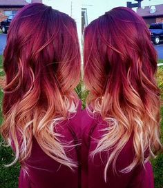 Red to blonde ombre, red ombre hair color, burgendy ombre hair, f Red Blonde Ombre Hair, Ombre Hair Color, Red Hair Fade, Magenta Hair Colors, Blonde Bayalage, Brunette Ombre, Balayage Hair, Hair Color And Cut, Gorgeous Hair