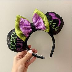 Dopey Challenge Inspired Mouse Ears/Mickey Ear Headband/Minnie Ears/Sequin Ears/Disney World/Disneyland/Run Disney Disney Headbands, Ear Headbands, Stones For Anxiety, Run Disney, Disney Races, Disney Magic, Disney Mickey, Black And White Earrings, Sequin Fabric