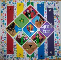 LOVE the shapes and colors of this scrapbook page layout