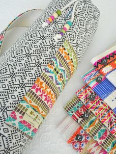Yoga mat bag - Mexican textiles -  choose your EMBROIDERED MEX FABRIC for pocket & carry strap at sidebar. by NannaBonkers on Etsy