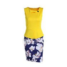 Women's Work Sexy Sheath Dress,Patchwork Asymmetrical Knee-length Sleeveless  Polyester Summer Print Randomly 2017 - $231.3