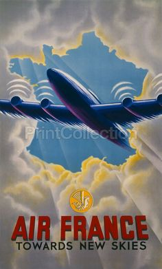 Air France Towards New Skies. Created in Paris by Atelier Perceval in 1947 As a color lithograph at 100 x 62 cm.åÊPoster showing an airplane emerging through clouds.