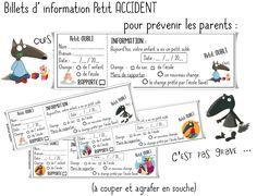Une partie à coller dans le cahier de liaison, l'autreà conserver en classe ... Télécharger « Billets info petits accidents pour les parents.pdf »
