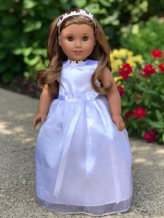 46dee11c7c5 My First Communion - Doll Clothes for 18 inch American Girl Doll - White  satin communion dress with matching headband and white shoes