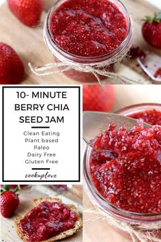 You must try this 10- Minute Berry Chia Seed Jam! This recipe is made with only 3 ingredients: strawberries, honey or maple syrup, and chia seeds. Naturally sweetened, paleo, plant based, gluten free, dairy free, clean eating, guilt free, healthy, quick, easy & SO much healthier than regular jams and jellies!