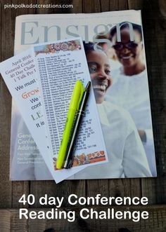 40 Day Conference Challenge-April 2016.  Free printable bookmarks - Pink Polka Dot Creations