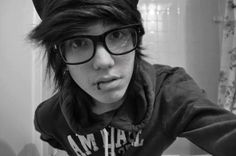 ~ ♥ emo boy with glasses<3