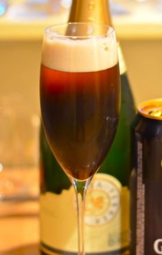 The Black Velvet cocktail. A simple combination of equal parts Guinness stout beer and good champagne or sparkling wine.