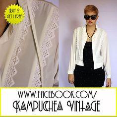 *3 FOR 2* Vintage Cream Lace Antique Shirt Blouse Womens sz12 - 1980s FREE P £4.99