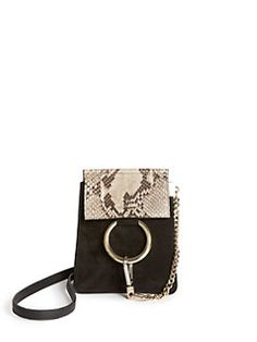 chlo faye mini suede python embossed leather bracelet crossbody bag