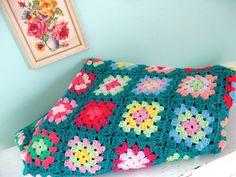 Handmade with Love... Vintage Handmade Rainbow Granny Square Afghan