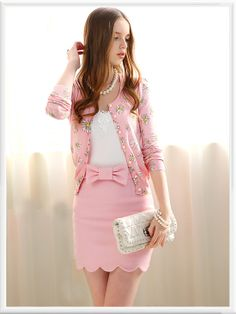 Morpheus Boutique  - Pink Floral Knit Ruffle Long Sleeve Knit Sweater Jacket, $79.99 (http://www.morpheusboutique.com/pink-floral-knit-ruffle-long-sleeve-knit-sweater-jacket/)
