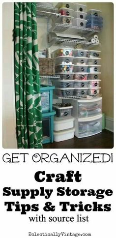 Great craft organization tips and tricks (with supply list) plus see how to make your own chalkboard labels for pennies! eclecticallyvintage.com