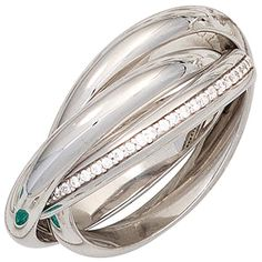 Triple ring Ladies Ring with 64 Zirconia white 925 Silver shiny, Silver ring 925 Silver, Sterling Silver Rings, Silver Hoop Earrings, Silver Necklaces, Silver Jewelry, Girls Necklaces, Moon Necklace, Fine Jewelry, Jewels