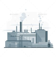 Industrial factory, manufacturing plant in gray colors with smoke from chimney, environmental pollution, flat style, isolated