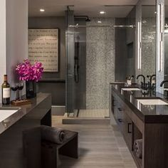 Every bathroom needs an open bottle of wine. | 21 Pictures That Will Give You Major Bathroom Goals