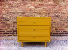 Petite Mid Century Dresser In Mustard Yellow by minthome on Etsy, $225.00