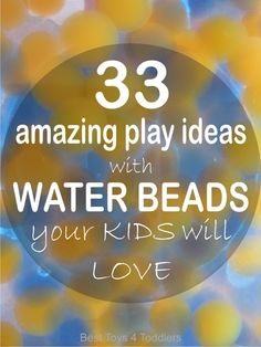 33 Amazing Water Beads Play Activities for Kids 33 Amazing Play Ideas with WATER BEADS your Kids will ♥ – great fun for hot Summer days (and any other day of a year! Sensory Tubs, Sensory Bottles, Sensory Activities, Hands On Activities, Craft Activities For Kids, Sensory Play, Learning Activities, Preschool Activities, Sensory Rooms