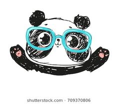 Cute Panda Bear, vector illustration. Animal vector. hand drawn panda with glasses