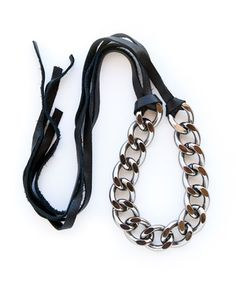 gunmetal and leather necklace