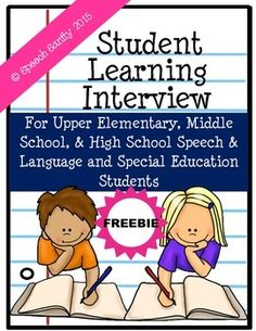 This FREEBIE is a print-and-go learning interview questionnaire you can give to your students.  It can be given aloud in a true interview format, or students can fill it out independently.  It is designed to target upper elementary through high school age students in speech and language therapy and/or special education.The information you gain from this interview will give you some very valuable insight into the way your students learn and what their past experience at school and in speech…