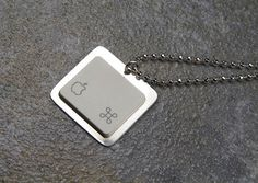 Apple iNecklace  Sterling Silver Recycled Computer by KeyedUp, $20.00