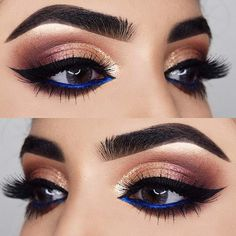 Gold and Blue Eyeshadow Look for Prom