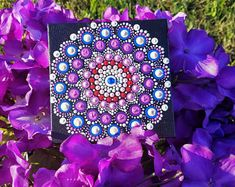 Purple Flower Mandala Dot Art